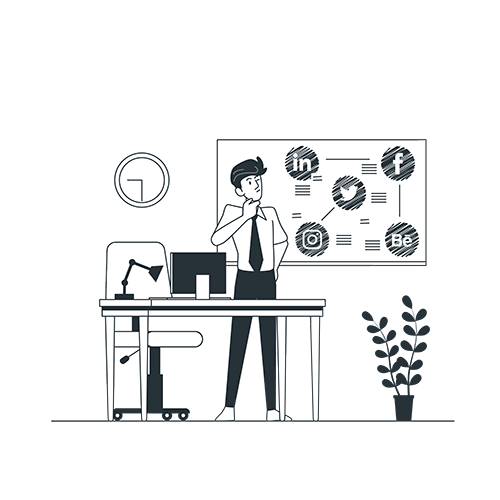 Weltraum.de - Geschäftsmann steht vor seinem Schreibtisch und Tafel mit verschiedenen Social Media Plattformen